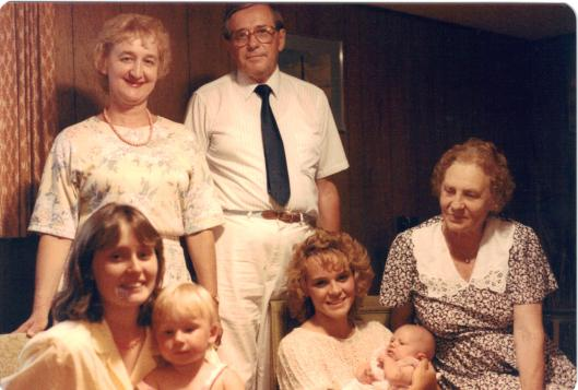 Joe, his wife Giedre, her mother Brone Kizlauskas (Kizlauskiene) and Koncius daughters (l to r) Ruta holding Sigita and Maria holding Ina. 1980s.