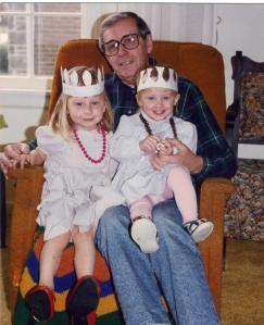 """Joe with his """"princess"""" granddaughters Sigita and Ina.  Circa 1990"""