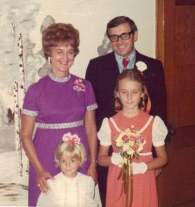 Joseph Koncius, former Springfield Lithuanian language school teacher, with his wife Giedre and daughters (l to r) Maria and Ruta. Circa 1970.