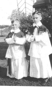 L to r:  Joe and Leonard Naumovich, Jr. in full altar boy regalia, circa 1932