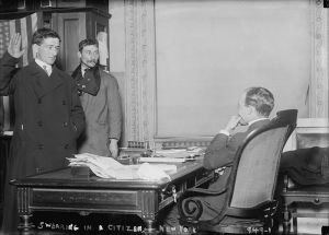 Courthouse oath. Naturalization image from the Library of Congress.