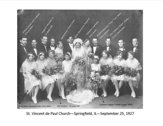 Click to see young Augie and his wife-to-be Ann Tisckos in this photo of the Alane-Kasawich wedding party, 1927.
