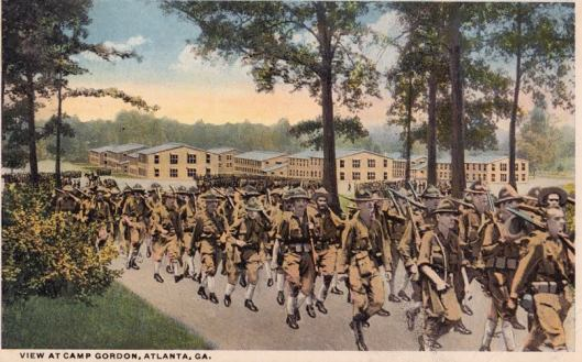 Postcard of Camp Gordon, near Atlanta.  Courtesy of foundpostcard.com.