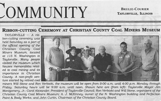 Taylorville newspaper article announcing the museum's opening, 2003.
