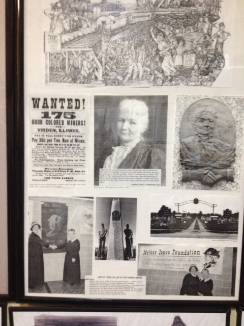 "Advertisement for ""colored' miners from the southern states to mine coal in Virden, plus Mother Jones images. Christian County Coal Miners' Museum, 2014."