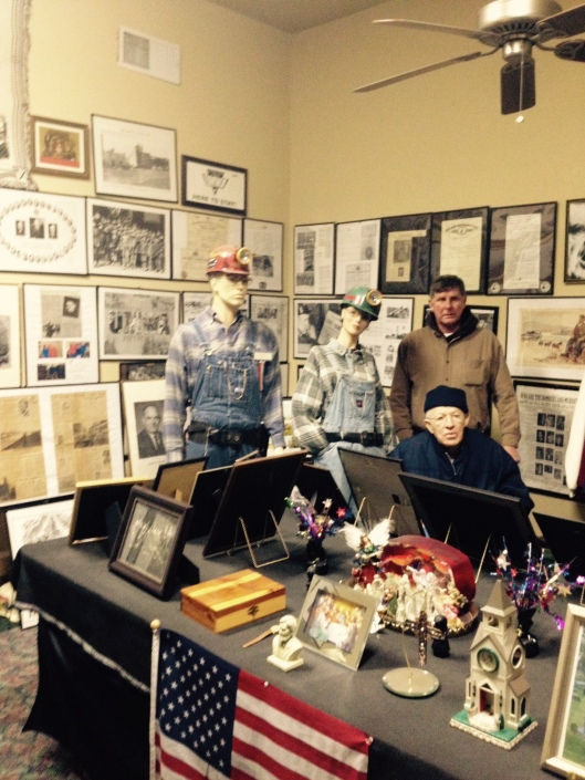 Will (Stankus) Stone (seated) and Ted Fleming in the Christian County Coal Miners' Museum, November 2014