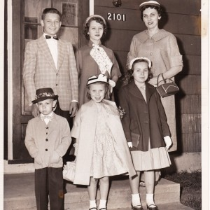Top from left: Vito and Romualda Sidlauskas, Julia Wisnosky. Bottom from left: Julia's son, daughters Janice and Georgeann, 1950s.