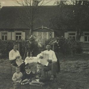 Another photo from the old country: Julia (Stockus) Wisnosky family between the wars. (The size of the house and dress of the people marks them as relatively well off.)