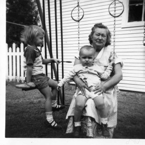 Bernice Kavirt with her daughter Bernice (Kavirt) Manning's children Glenn and Alice, 1950s.