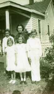 The Kavirt kids, front row, left to right: Delores, Alice and Willie. Back row, left to right: Bernice and Lillian. Late 1930s.