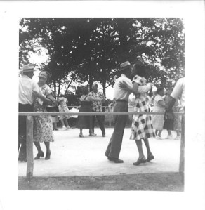 """Outdoor dance floor at Pakey farm picnic of the """"Lithuanian Lodge,"""" 1950s.  Lithuanian leftist groups supported racial equality and were racially integrated."""