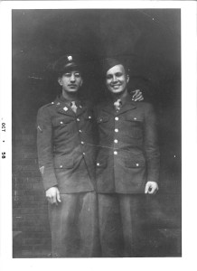 From left:  brothers Frank and Pete Pakey in uniform, World War II.