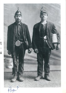 Joseph Pakutinskas, left, Herrin coal miner, 1910s. Joseph later owned farms in Urbana and on Mechanicsburg Rd., outside Springfield.