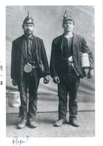 Joseph Pakutinskas, left, Herrin coal miner, 1910s.