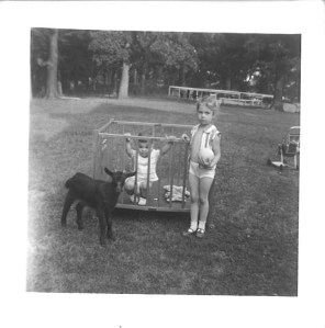 """Don Pakey in playpen, sister Emily and """"the goat."""" Pakey farm, 1950s."""