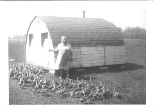 """""""Mamita"""" (Anna Janusauskis Pakutinskas) with her baby turkeys, Pakey farm, 1950s."""