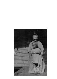 Anna (Sleveski) Mazika with her granddaughter Lillian Kavirt. Circa 1930.