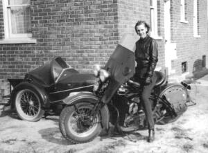 Veronica Witkins poses, perhaps with Tony's motorcycle. She died of TB at age 23 in 1942.