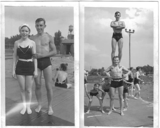 Memorial Pool or Muscle Beach? On left, young Teresa and Tony Witkins. On right, Tony atop strong man.