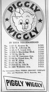 Piggly Wiggly Advert Springfield, IL Illinois Bell Telephone Book,1950