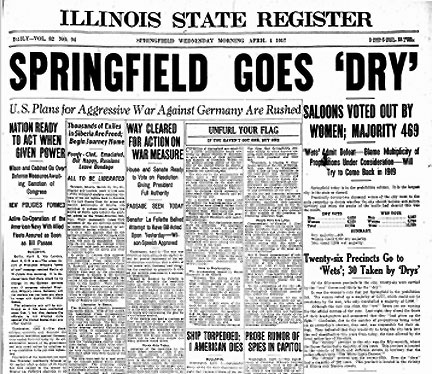 Booze.GOES DRY ILLINOIS STATE REGISTER, Wednesday, April 4, 1917