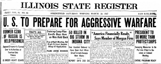 1 U.S to Prepare For War, ILLINOIS STATE REGISTER, Saturday, March 24, 1917