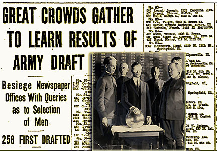 2 Draft Lottery Photo from NY Journal American, from the Harry Ransom Center, Univ. of Texas at Austin & ISR, July 21, 1917