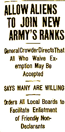 3 Allow Aliens to Join New Army's Ranks. ISR, Aug. 7, 1917, p. 1