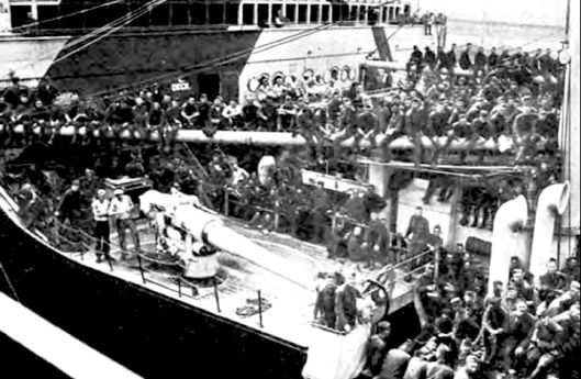 6a USS Leviathan leaving for France with 11,000 American troops. Source, Army historical series- The Army Medical Department, 1917-1941, Mary C. Gillett