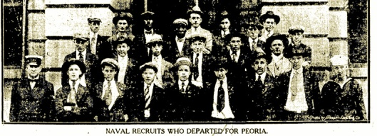Gregalunas. Naval Recruits Depart for Peoria. ISJ, July 6, 1918, p. 2