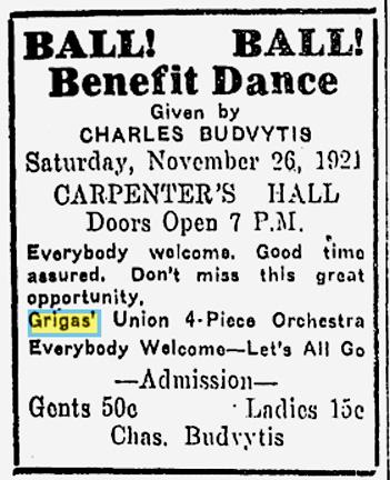Grigas' Orchestra. ISR, Nov. 25, 1921, p. 14