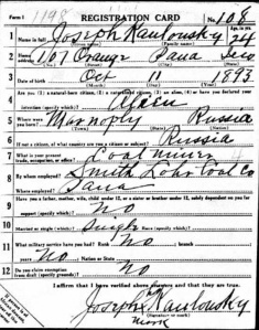 Kowlowsky, Joseph Draft Registration, WWI
