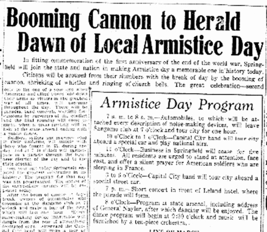 1st Armistice Day Spfld. ISJ, Nov. 11, 1919, p. 1