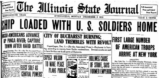 1st Troops Arrive, ISJ, Dec. 2, 1918 p. 1