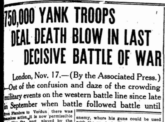 Hundred Days in ISJ, November 18, 1918, p. 1